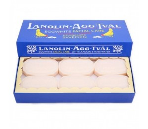 Victoria Scandinavian Soap AB Lanolin-Agg-Tval Swedish Eggwhite Facial Soap Set 50g x 6 Bars